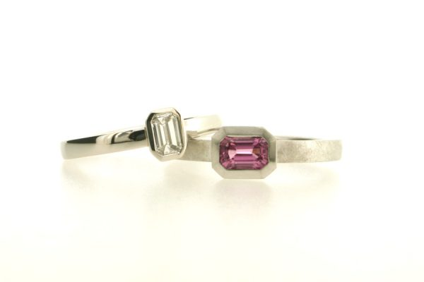 Emerald Cut Diamond Platinum & Emerald Cut Pink Sapphire 18ct White Gold Rings by Robert Feather Jewellery