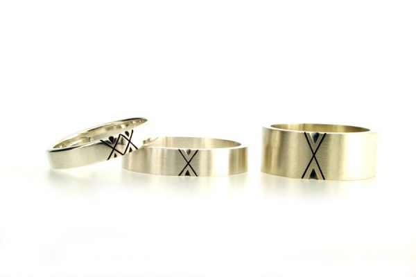 Oxidised Chevron Patterned Silver & 9ct White Gold Rings by Robert Feather Jewellery