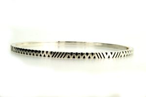 Full Chevron Pattern Silver Bangle by Robert Feather Jewellery