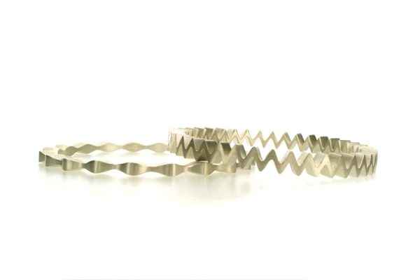 Undulating & Offset Wave Design Silver Bangles by Robert Feather Jewellery