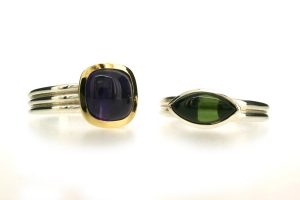 Cushion Amethyst & Marquise Cut Green Tourmaline Silver & Gold Rings by Robert Feather Jewellery