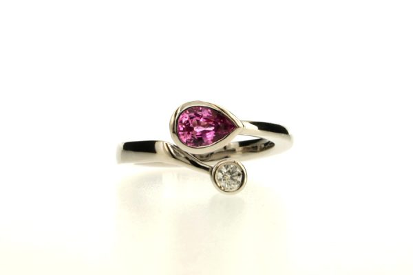 Pear Pink Sapphire & Round Brilliant Cut Diamond 18ct White Gold Ring by Robert Feather Jewellery