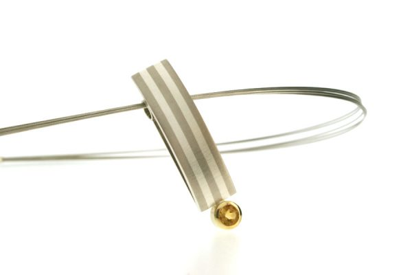 Palladium & Silver Striped Citrine Necklace by Robert Feather Jewellery