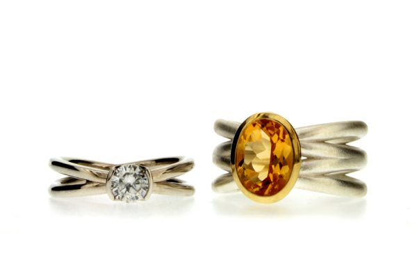Round Brilliant Cut Diamond Platinum & Oval Citrine Silver Rings by Robert Feather Jewellery