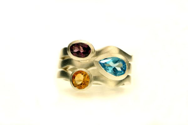 Pear Topaz, Garnet & Citrine Silver Stacking Rings by Robert Feather Jewellery