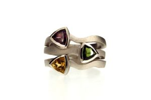 Three Trillion Cut Stone Silver Stacking Ring by Robert Feather Jewellery