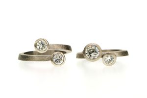 Two Stone Round Brilliant Cut Diamond Platinum Rings by Robert Feather Jewellery