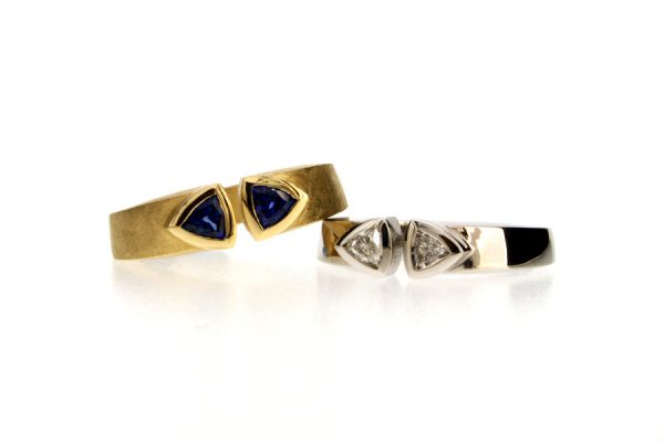 Trillion Sapphire & Diamond 18ct Yellow & White Gold Rings by Robert Feather Jewellery