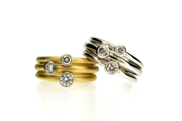 Three Stone Diamond 18ct Gold & Platinum Rings by Robert Feather Jewellery