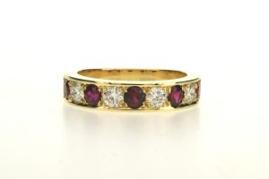 Diamond & Ruby 18ct Gold Eternity Ring by Robert Feather Jewellery