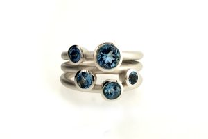 Five Stone Round Aquamarine 18ct White Gold Ring by Robert Feather Jewellery