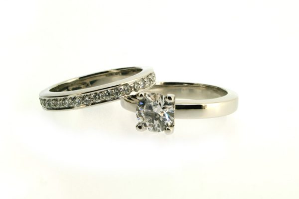Round Brilliant Cut Diamond Platinum Engagement & Diamond Set Wedding Rings by Robert Feather Jewellery