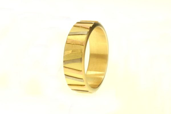 Multi Coloured Striped 18ct Gold Ring by Robert Feather Jewellery