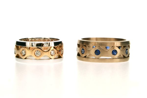 Diamond & Sapphire 18ct Gold Stacking Rings by Robert Feather Jewellery