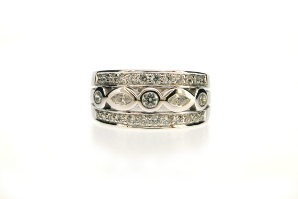 Marquise Cut & Round Diamond Set 18ct White Gold Ring by Robert Feather Jewellery