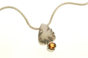 Notch Pattern Silver Citrine Necklace by Robert Feather Jewellery