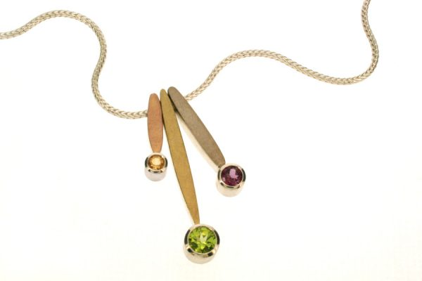 Leaf Design Three Stone Silver & 18ct Gold Necklace by Robert Feather Jewellery