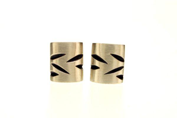 Notch Pattern Cushion Silver Ear Studs by Robert Feather Jewellery