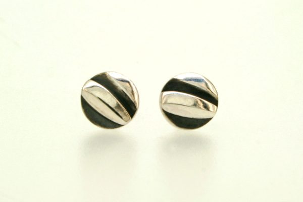 Wave Design Round Silver Ear Studs by Robert Feather Jewellery