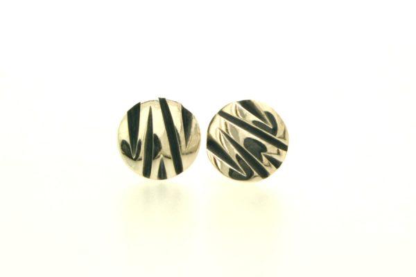 Zig Zag Pattern Round Silver Ear Studs by Robert Feather Jewellery
