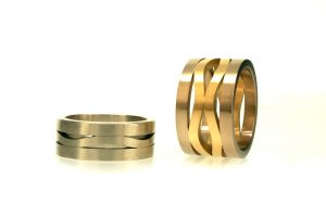 Harmonic Wave Shaped Silver & 18ct Gold Rings by Robert Feather Jewellery