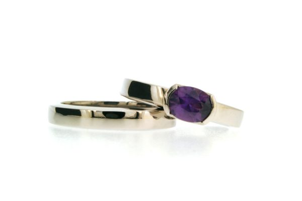 Palladium Oval Sapphire Engagement & Wedding Ring Set by Robert Feather Jewellery