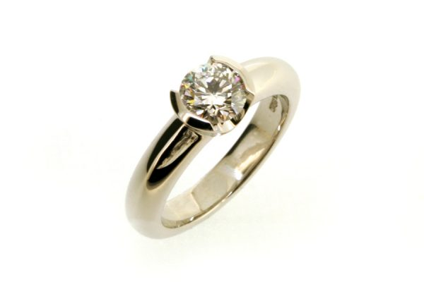 Round Brilliant Cut Diamond Platinum Engagement Ring by Robert Feather Jewellery