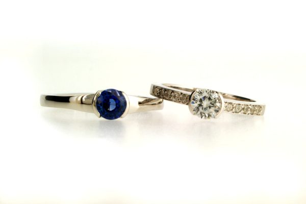Round Sapphire & Brilliant Cut Diamond Platinum Rings by Robert Feather Jewellery