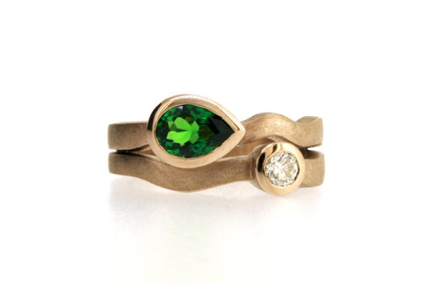Pear Tsavorite & Brilliant Cut Diamond 18ct White Gold Ring by Robert Feather Jewellery