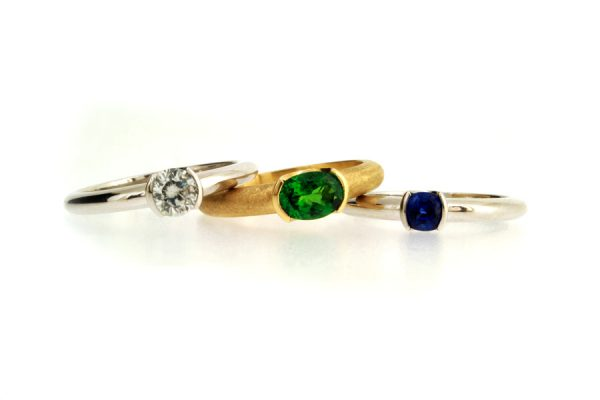 Brilliant Cut Diamond, Oval Tsavorite & Cushion Sapphire Platinum & 18ct Gold Rings by Robert Feather Jewellery