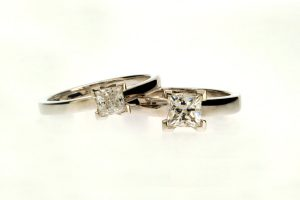 Princess Cut Diamond Platinum Engagement Rings by Robert Feather Jewellery