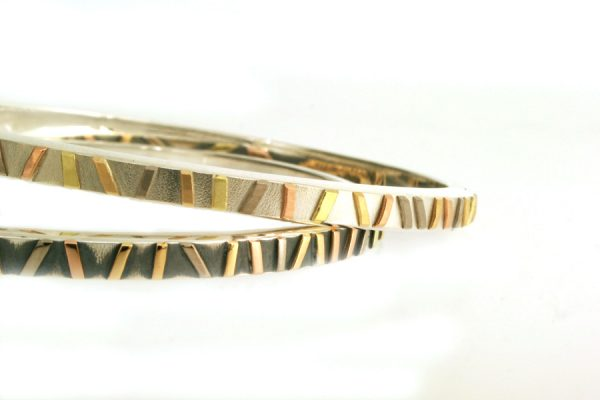 Striped Silver & 18ct Gold Bangles by Robert Feather Jewellery