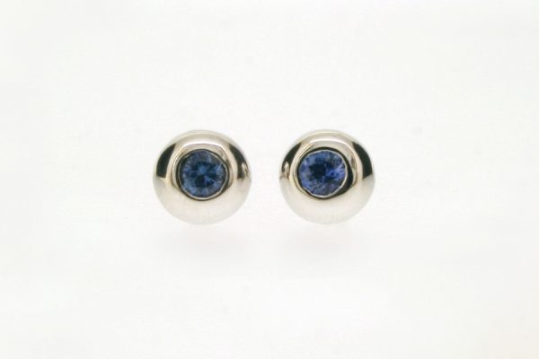 Sapphire 18ct White Gold Round Ear Studs by Robert Feather Jewellery
