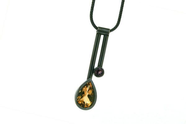 Two Bar Design Pear Citrine & Garnet Silver Necklace by Robert Feather Jewellery