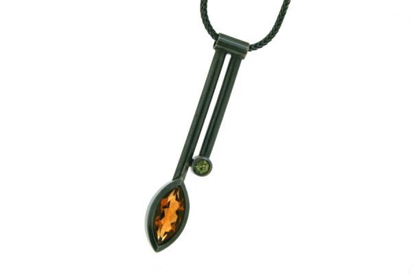 Two Bar Design Marquise Citrine & Peridot Silver Necklace by Robert Feather Jewellery