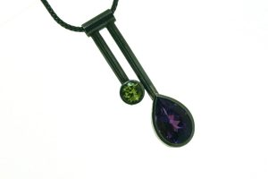 Two Bar Design Pear Amethyst & Peridot Silver Necklace by Robert Feather Jewellery