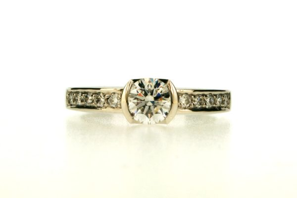 Round Brilliant Cut Diamond Platinum Engagement Ring with Diamond Set Shoulders by Robert Feather Jewellery