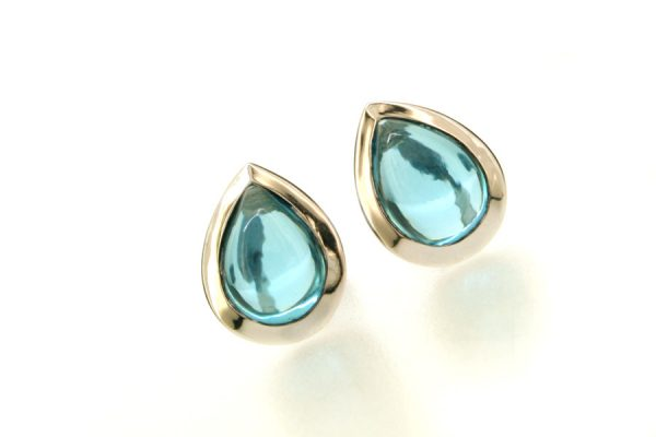 Pear Blue Topaz 18ct White Gold Ear Studs by Robert Feather Jewellery