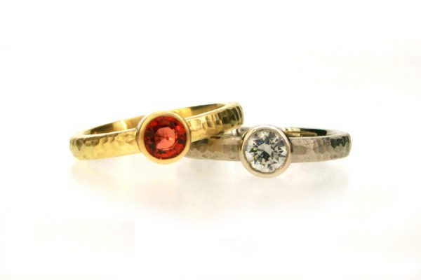 Round Sapphire & Diamond Hammered Finished Engagement Rings by Robert Feather Jewellery