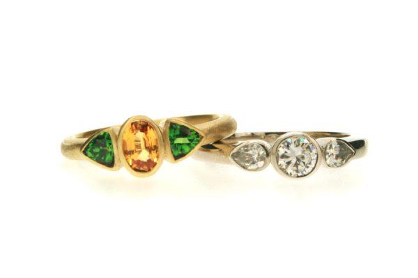 Three Stone Sapphire & Tsavorite 18ct Gold & Diamond Platinum Rings by Robert Feather Jewellery