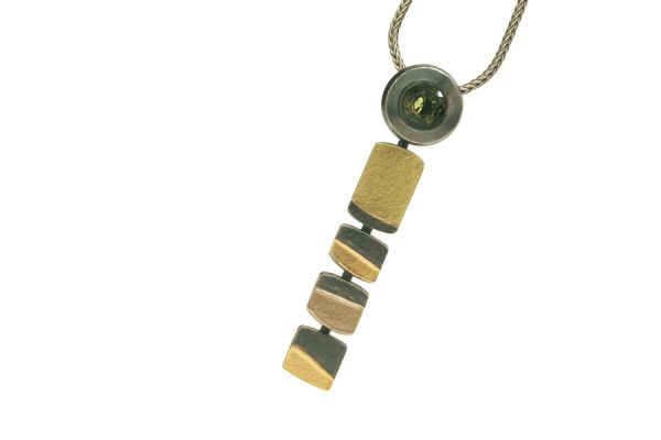 Roundhead Design Tourmaline Silver & 18ct Coloured Gold Necklace by Robert Feather Jewellery