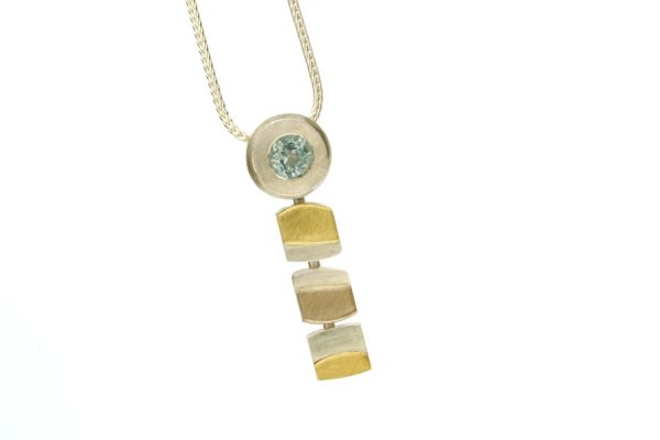 Roundhead Design Blue Topaz Silver & 18ct Coloured Gold Necklace by Robert Feather Jewellery