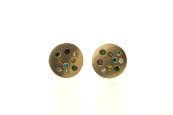 Coloured Diamond Set 18ct White Gold Round Ear Studs by Robert Feather Jewellery