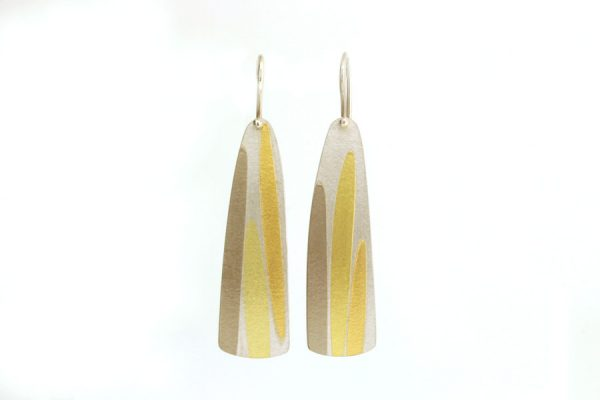 Silver Leaf Design Earrings with Coloured Details by Robert Feather Jewellery