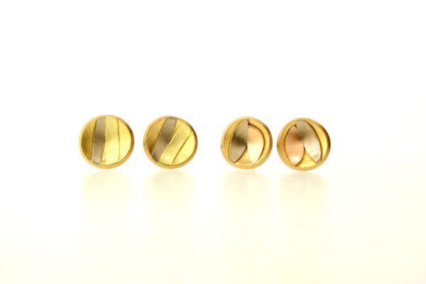 Striped & Leaf Design 18ct Gold Round Ear Studs by Robert Feather Jewellery