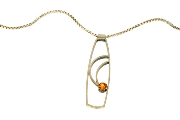 Open Frame Design Orange Sapphire Silver Necklace : Robert Feather Jewellery