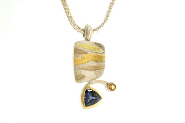 Trillion Iolite & Citrine Leaf Design Silver & 18ct Gold Necklace : Robert Feather Jewellery