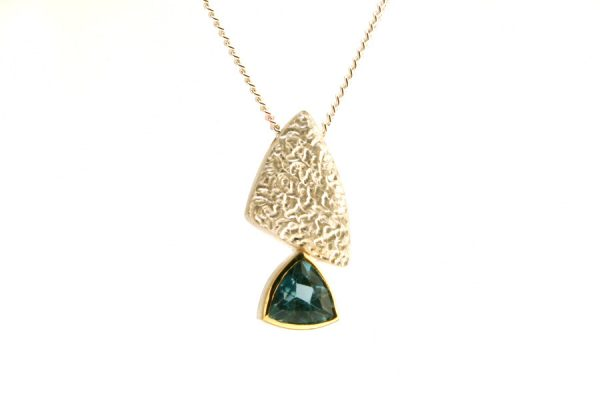 Trillion Blue Topaz Silver Necklace : Robert Feather Jewellery