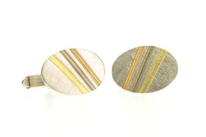 Oval Silver & 18ct Gold Striped Cufflinks by Robert Feather Jewellery