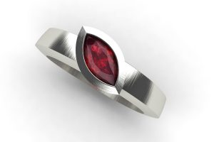 Marquise Cut Ruby 18ct White Gold Ring Design by Robert Feather Jewellery